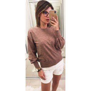 Ella Moss Puff Sleeve Sweater Heather Blush